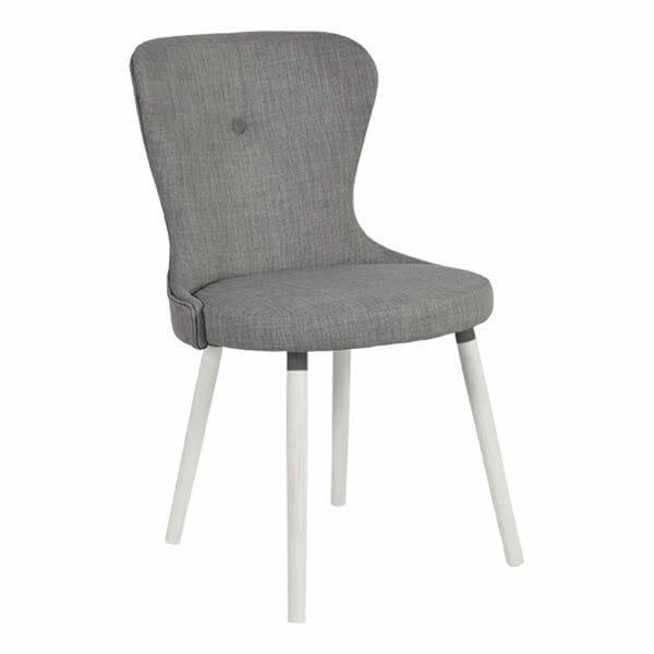 Betty stol, grå, vitlackade ben, 2-Pack