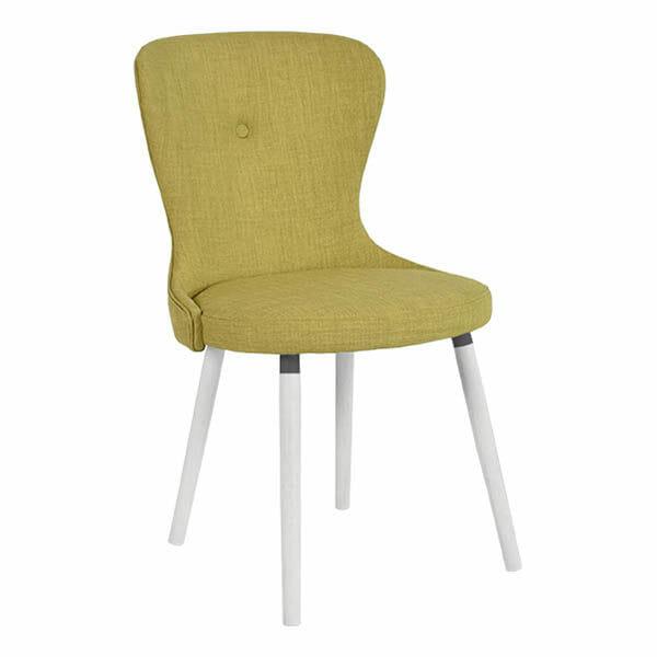 Betty stol, grön, vitlackade ben, 2-Pack