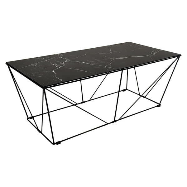 Cube soffbord, glasskiva med svart marmorfolie (120 cm)