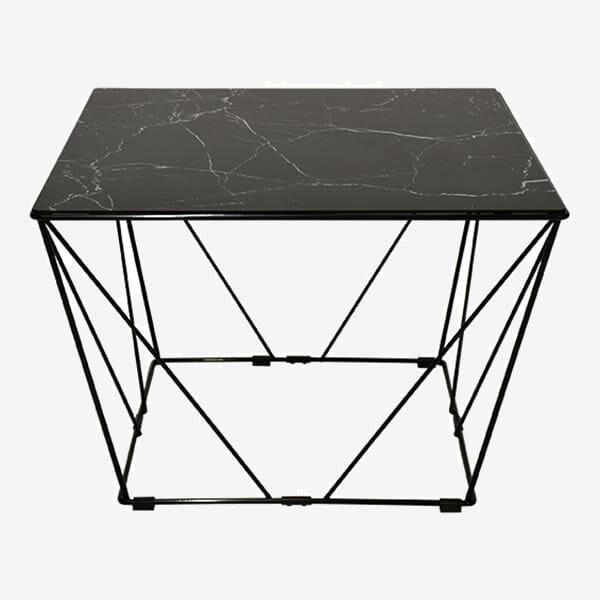 Cube soffbord, glasskiva med svart marmorfolie (65 cm)