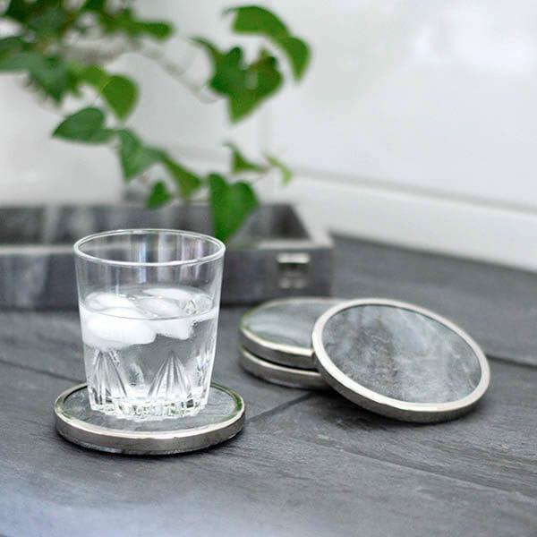 Glasunderlägg grå marmor, förnicklad 4-pack