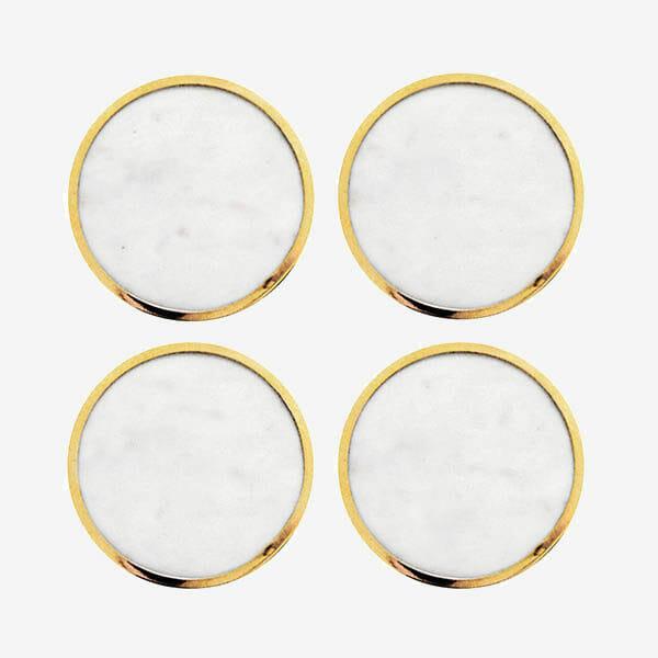 Glasunderlägg vit marmor, mässing 4-pack