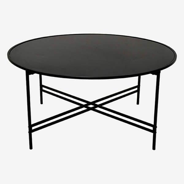 Maison Soffbord, Svart glas/svart metall (100 cm)