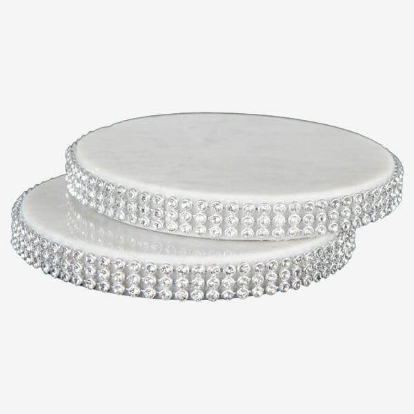 Glasunderlägg Vit marmor kristallkant i 4-pack
