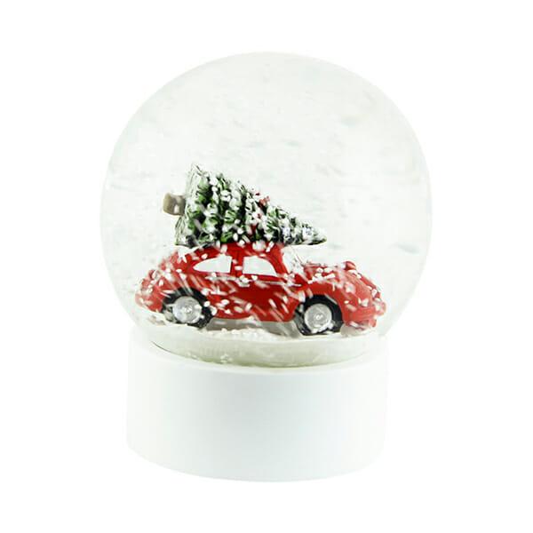 Snöglob Bil med julgran Röd