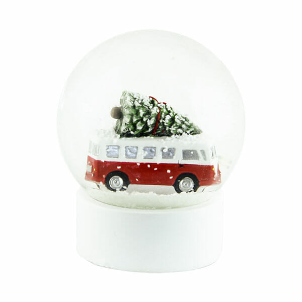 Snöglob Buss med julgran Röd