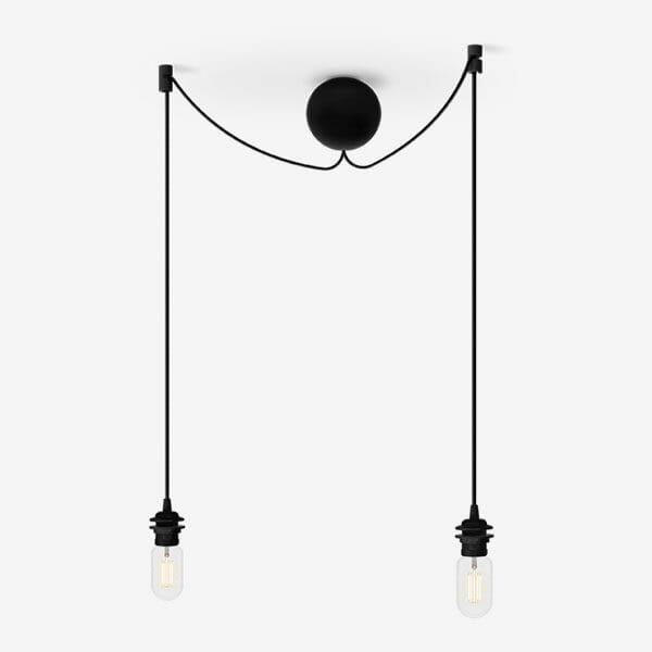 Sladdset Cannonball Cluster 2 lampor, Svart