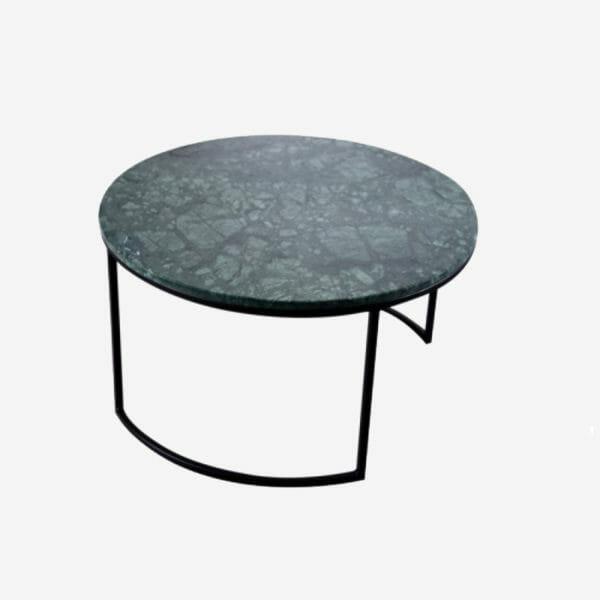 Kraljevic runt bord grön marmor/svart