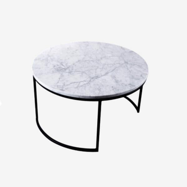 Kraljevic runt bord ljus marmor/svart