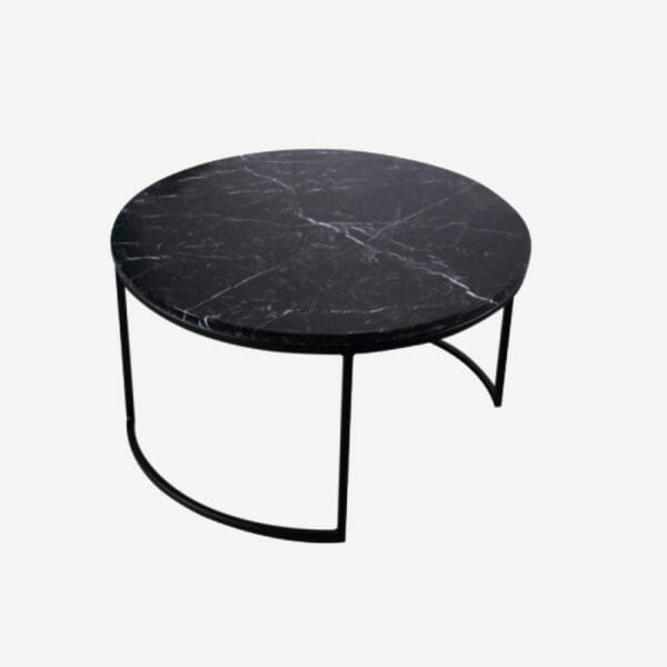 Kraljevic runt bord svart marmor/svart
