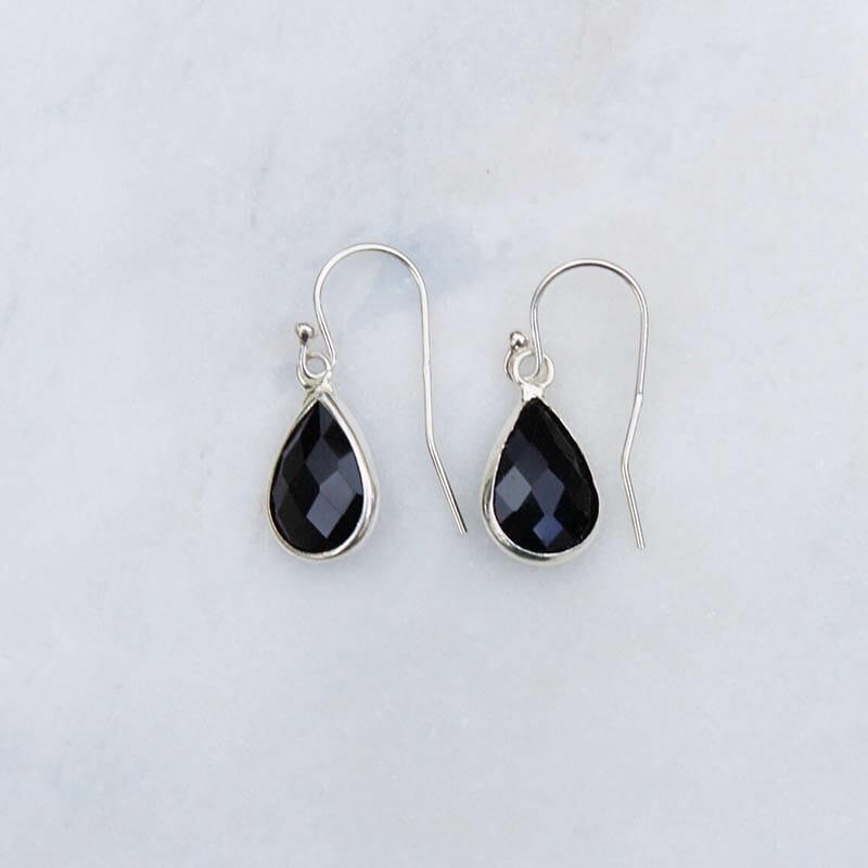 Örhängen Simple Drop, Svart/Silver